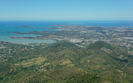 south pacific ocean: Aerial view of the peninsula of Noumea and the city, southwest coast of Grande Terre island, New Caledonia, south Pacific ocean Stock Photo