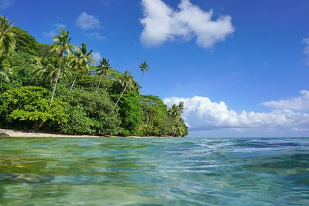 Tropical coast with lush green vegetation on the shore of the island of Huahine, seen from sea surface, French Polynesia, Pacific ocean