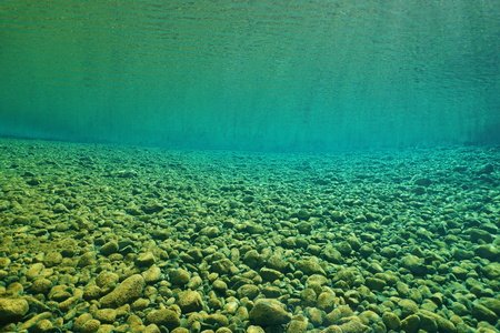 subaquatic: Pebbles underwater on the riverbed with clear water, natural scene, Dumbea river, New Caledonia, south Pacific