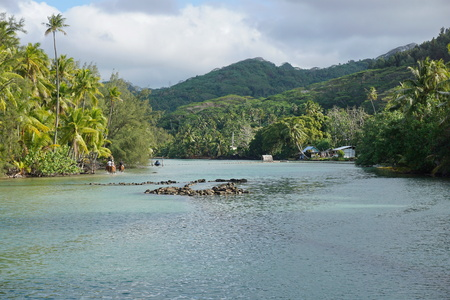 Shallow channel with stone fish trap leads to the lake Fauna nui and to the ocean, island of Huahine, South Pacific, French Polynesia