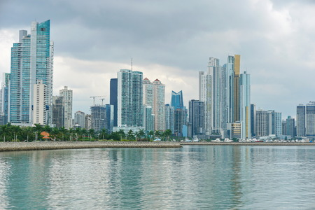 Coastline of Panama City with buildings on the oceanfront, Pacific coast of Panama, Central America