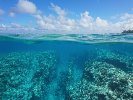 underwater ocean: Over under water surface, rocky seabed with coral reef underwater and cloudy blue sky split by waterline, Huahine, Pacific ocean, French Polynesia
