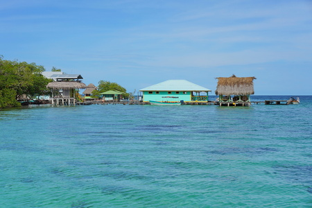 Tropical restaurant over the sea in the archipelago of Bocas del Toro, Cayo Coral, Caribbean side of Panama, Central America