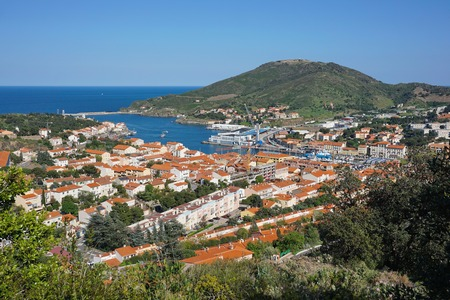 port vendres: The coastal town of Port Vendres with its harbor and the fort Bear in background, seen from the heights, Mediterranean sea, Roussillon, Pyrenees Orientales, Cote Vermeille, south of France