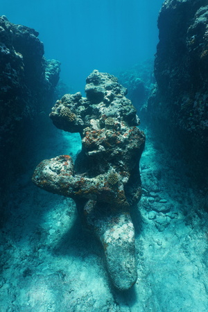 Natural rock formation underwater ocean, outer reef of Huahine island, south Pacific, French Polynesia