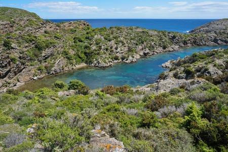 Spain coastal landscape small cove with clear water, Mediterranean sea, Cala Bona in the Cap de Creus natural park, Costa Brava, Cadaques, Catalonia