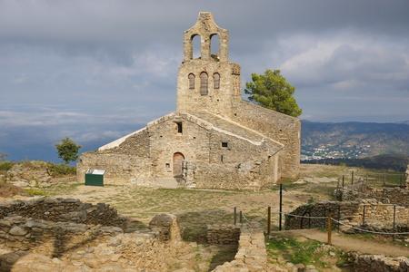 The church of Santa Helena or Santa Creu de Rodes, pre-romanesque building located on the Verdera mountain, Alt Emporda, El Port de la Selva, Catalonia, Spain