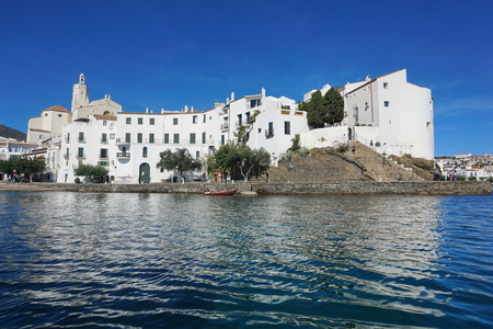 Spain Cadaques old village with whitewashed houses on the coast of the Mediterranean sea, Costa Brava, Alt Emporda, Catalonia Stock Photo