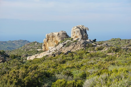 Wild landscape with natural rock formation in Cap de Creus natural park, Spain, Costa Brava, Catalonia, Girona, Mediterranean Banco de Imagens