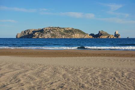 Spain Mediterranean sea the Medes islands marine reserve seen from a sandy beach, Estartit, Costa Brava, Catalonia