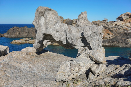 Strange rock formation on the seashore, Cap de Creus natural park, Spain, Costa Brava, Catalonia, Girona, Mediterranean sea