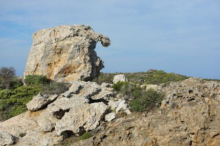Strange natural rock formation in Cap de Creus natural park, Spain, Costa Brava, Catalonia, Girona, Mediterranean