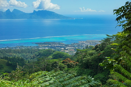 View from the mountains of the north-west coast of Tahiti with Moorea island in background, French Polynesia, south Pacific ocean Stock Photo