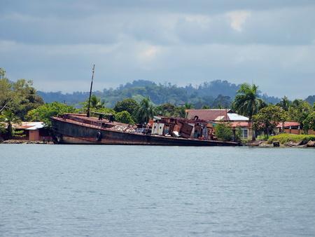 Ship wreck on the Caribbean coast  in Almirante, Bocas del Toro, Panama, Central America