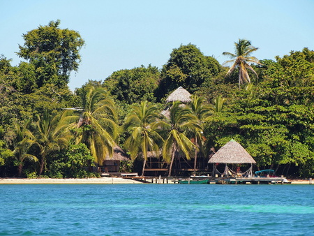Tropical eco resort on the beach with thatch hut and dense vegetation, Caribbean sea, Panama