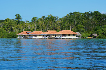 Caribbean vacation houses over water, Central America, Panama