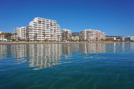 Spain Costa Brava apartment buildings along the beach, Mediterranean sea, Santa Margarida, Roses, Catalonia, Girona Banco de Imagens
