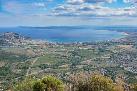 Viewpoint over the gulf of Roses from the mountain, Spain, Mediterranean sea, Costa Brava, Alt Emporda, Girona, Catalonia Фото со стока