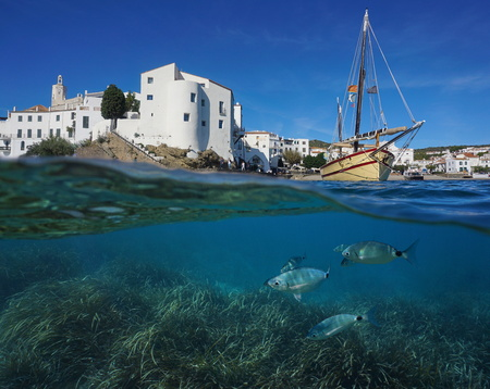 Coastal village of Cadaques with a traditional boat and fish with seagrass underwater, split view above and below water surface, Mediterranean sea, Costa Brava, Spain Stock Photo