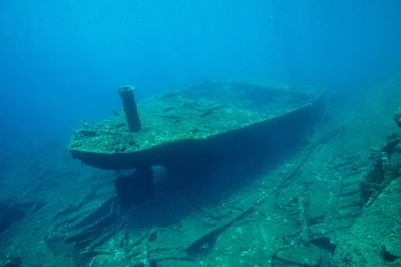 Underwater a shipwreck on the seabed in the Mediterranean sea ( 1968, the ship Melchuca ), Catalonia, Costa Brava, Spain