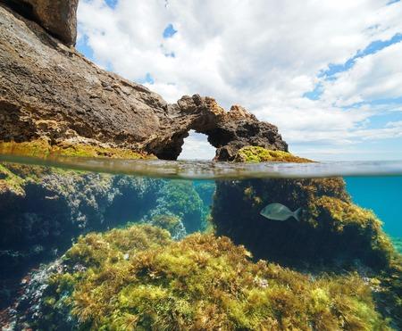 Natürliche Felsformation mit Algen und einem Fisch unter Wasser, geteilte Ansicht halb über und unter der Wasseroberfläche, Mittelmeer, Cabo de Palos, Cartagena, Murcia, Spanien Standard-Bild