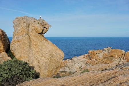 Rock formation with the Mediterranean sea in background, Cap de Creus natural park, El Camell del Pla de Tudela, Spain, Costa Brava, Catalonia Banco de Imagens