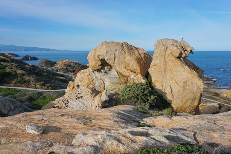 Rock formation in the Cap de Creus natural park, El Camell del Pla de Tudela, Spain, Costa Brava, Catalonia, Mediterranean sea Banco de Imagens