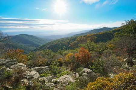 Spain landscape in Autumn from the Albera mountain range, Pyrenees, Catalonia, Alt Emporda Banque d'images - 117727475