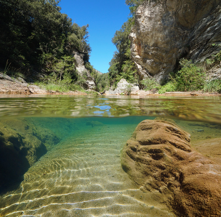 Wild river over and under water surface with rocks and vegetation, La Muga, Catalonia, Spain Banque d'images - 117727645