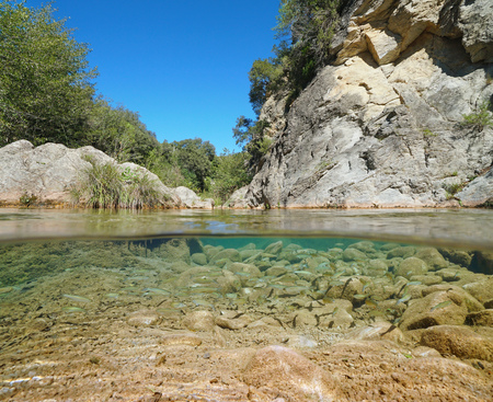 Wild river with rocks and fish shoal underwater (chub), split view half above and below water surface, La Muga, Catalonia, Spain Banque d'images - 117727656
