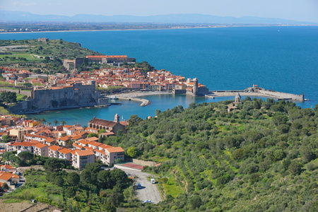 France Collioure beautiful Mediterranean village on the sea shore, Roussillon, Pyrenees Orientales