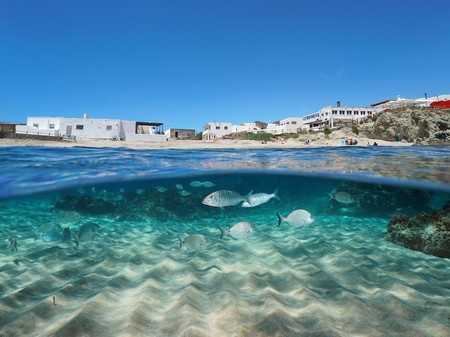 Spain beach in the Mediterranean village La Isleta del Moro with fish and sand underwater sea, Cabo de Gata-Nijar, Almeria, Andalusia, split view half over and under water Banque d'images - 117728035