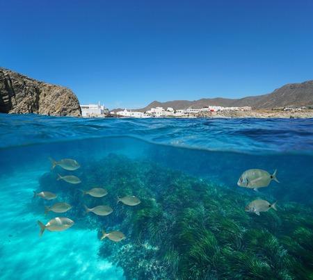 Spain coastal village with fish and seagrass underwater, Mediterranean sea, La Isleta del Moro, Cabo de Gata Nijar, Andalusia, Almeria, split view half over and under water