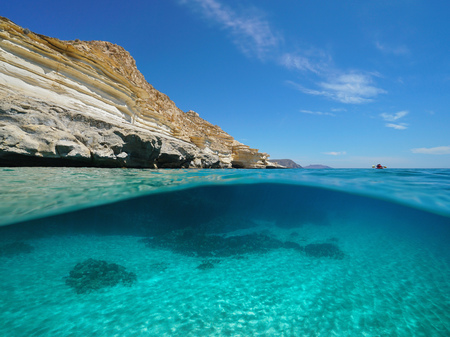 Mediterranean sea rocky coast with sandy seabed underwater, Spain, Las Negras, Almeria, Andalusia, split view half over and under water Banque d'images - 117728070