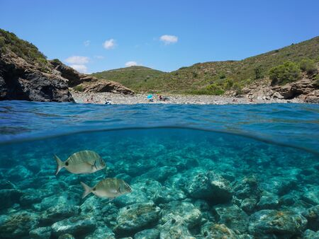 Spain Costa Brava, rocky cove on the Mediterranean coast with fish and rocks underwater, split view over and under sea surface, Catalonia, Cap de Creus, Cala Canadell Reklamní fotografie