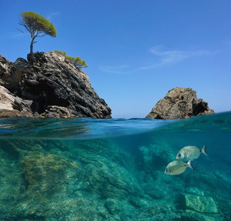 Seascape in the Mediterranean sea, rocky coast split view over and under water surface, Spain, Costa Brava, Roses, Catalonia, Cala Rostella