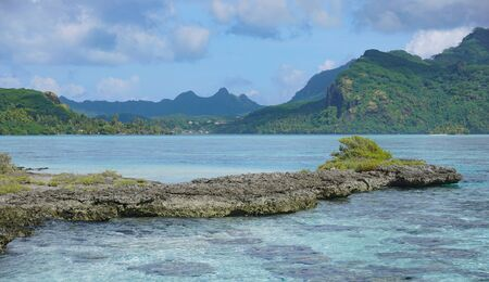 French Polynesia, coastline and lagoon of Huahine island near Maroe bay, south Pacific ocean, Oceania