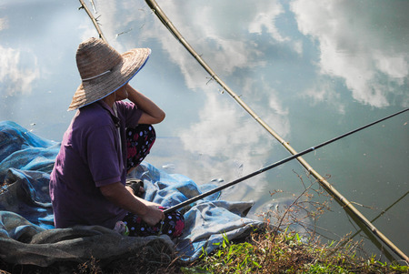 castings: People do some fishing on a river near his home to cook.