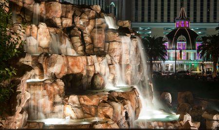 Waterfall in Las Vegas  in the night time