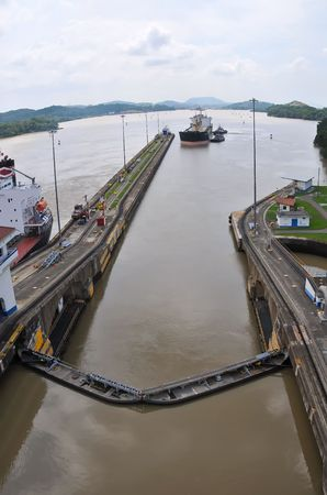 Ship passes through the Panama Channel canal locks