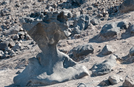 Volcanic rock formation in the form of humans head
