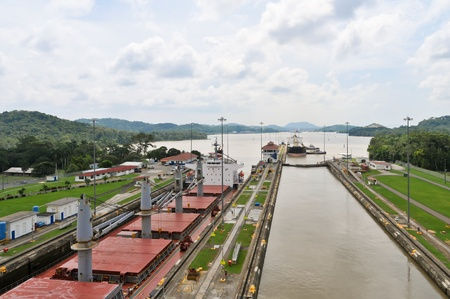 Ship is waiting to enter Panama Channel Lock when another ship already in another Lock Stock Photo - 12819117