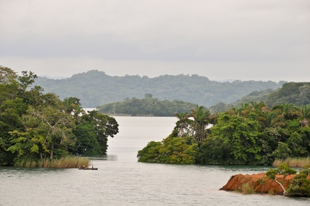 Children fishing in the Gatun lake of the Panama Channel