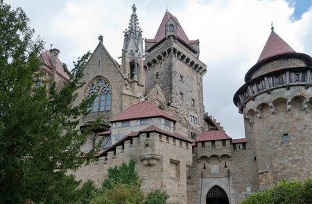 gothic castle: Medieval castle Kreuzenstein in Lower Austria.The castle is sometimes used as a location for films, most notably The Three Musketeers in 1993.