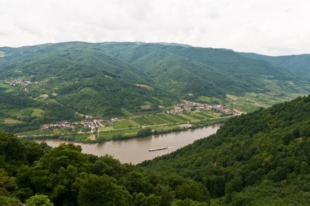 Danube in Wachau region of Austria with a ship Stock Photo
