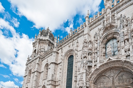 Facade of the old cathedral in Lisbon, Portugal Stock Photo