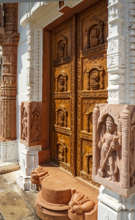 Beautifully decorated entrance to Jain Temple in India Stock Photo