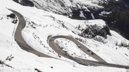 The road in Austrian Alps on 2500 m high in summer Stock Photo