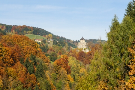 Autumn in Upper Austria with colorful trees and ruins of the castle  Editorial