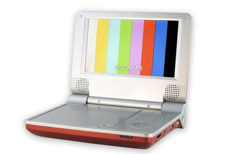 tast: Portable DVD Player with low quality pixels screen play color tast table.  Isolated on white.